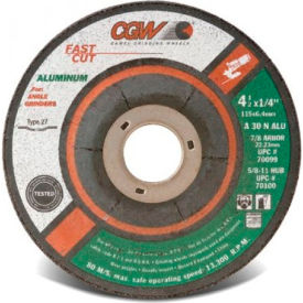 "CGW Abrasives 70101 Depressed Center Wheel 5"" x 1/4"" x 7/8"" Type 27 30 Grit Aluminium Oxide - Pkg Qty 25"