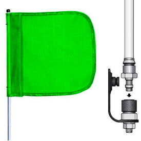 """10' Heavy Duty Quick Disconnect Warning Whip w/o Light, 12""""x11"""" Green Rectangle Flag"""