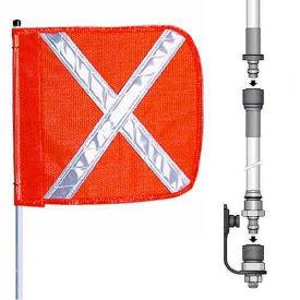 "10' Heavy Duty Split Pole Warning Whip w/o Light, 12""x11"" Orange w/ X Rectangle Flag"
