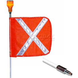 "10' Heavy Duty Standard Threaded Hex Base Warning Whip w/ Lighting Capability, 12x11"" Orange X  Flag"