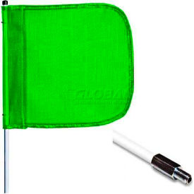 "12' Heavy Duty Standard Threaded Hex Base Warning Whip w/o Light, 16""x16"" Green Rectangle Flag"