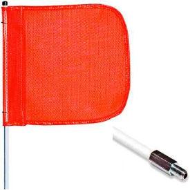"12' Heavy Duty Standard Threaded Hex Base Warning Whip w/o Light, 16""x16"" Orange Rectangle Flag"