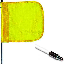 "12' Heavy Duty Standard Threaded Hex Base Warning Whip w/o Light, 16""x16"" Yellow Rectangle Flag"