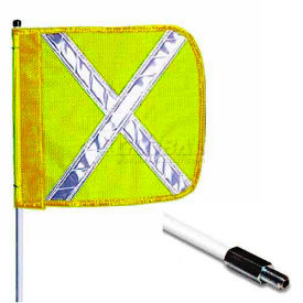 "12' Heavy Duty Standard Threaded Hex Base Warning Whip w/o Light, 16""x16"" Yellow w/ X Rectangle Flag"