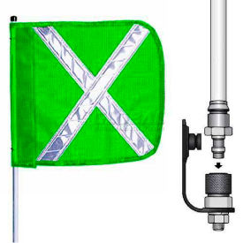 "12' Heavy Duty Quick Disconnect Warning Whip w/o Light, 16""x16"" Green w/ X Rectangle Flag"