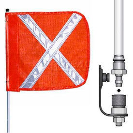 "12' Heavy Duty Quick Disconnect Warning Whip w/o Light, 16""x16"" Orange w/ X Rectangle Flag"
