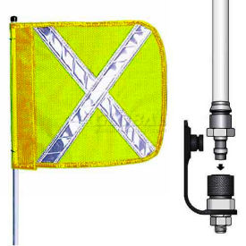 """12' Heavy Duty Quick Disconnect Warning Whip w/o Light, 16""""x16"""" Yellow w/ X Rectangle Flag"""