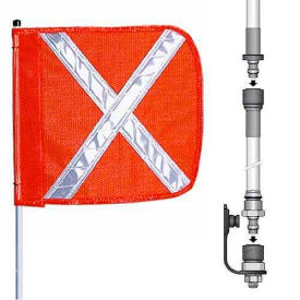 "12' Heavy Duty Split Pole Warning Whip w/o Light, 12""x11"" Orange w/ X Rectangle Flag"