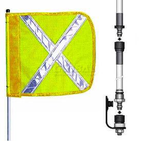 "12' Heavy Duty Split Pole Warning Whip w/o Light, 12""x11"" Yellow w/ X Rectangle Flag"