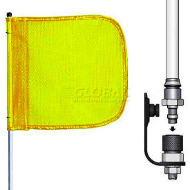 """3' Heavy Duty Quick Disconnect Warning Whip w/o Light, 12""""x11"""" Yellow Rectangle Flag"""