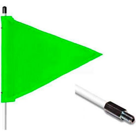 "3' Heavy Duty Standard Threaded Hex Base Warning Whip w/o Light, 12""x9"" Green Triangle Flag"