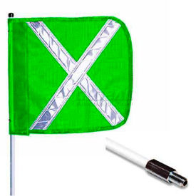 "3' Heavy Duty Standard Threaded Hex Base Warning Whip w/o Light, 16""x16"" Green w/ X Rectangle Flag"