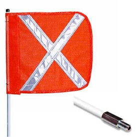 "3' Heavy Duty Standard Threaded Hex Base Warning Whip w/o Light, 12""x11"" Orange w/ X Rectangle Flag"