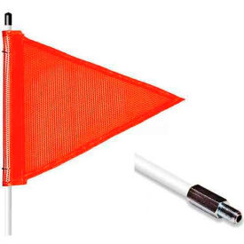 "5' Heavy Duty Standard Threaded Hex Base Warning Whip w/o Light, 12""x9"" Orange Triangle Flag"