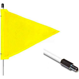 "5' Heavy Duty Standard Threaded Hex Base Warning Whip w/o Light, 12""x9"" Yellow Triangle Flag"