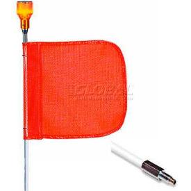 "5' Heavy Duty Standard Threaded Hex Base Warning Whip w/ Lighting Capability, 12x11"" Orange Flag"