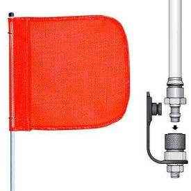 """6' Heavy Duty Quick Disconnect Warning Whip w/o Light, 12""""x11"""" Orange Rectangle Flag"""