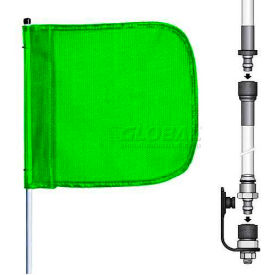 "8' Heavy Duty Split Pole Warning Whip w/o Light, 12""x11"" Green Rectangle Flag"