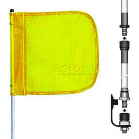 "8' Heavy Duty Split Pole Warning Whip w/o Light, 12""x11"" Yellow Rectangle Flag"