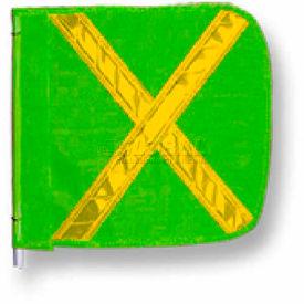 "Heavy Duty Flag, 16""x16"" Green w/ Yellow X"