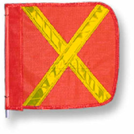 "Heavy Duty Flag, 12""x11"" Orange w/ Yellow X"