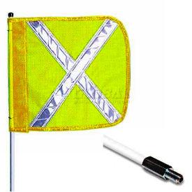 "8' Heavy Duty Standard Threaded Hex Base Warning Whip w/o Light, 16""x16"" Yellow w/ X Rectangle Flag"