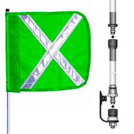 "8' Heavy Duty Split Pole Warning Whip w/o Light, 12""x11"" Green w/ X Rectangle Flag"