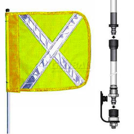 "8' Heavy Duty Split Pole Warning Whip w/o Light, 12""x11"" Yellow w/ X Rectangle Flag"