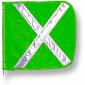 "Heavy Duty Flag, 16""x16"" Green w/ White X"