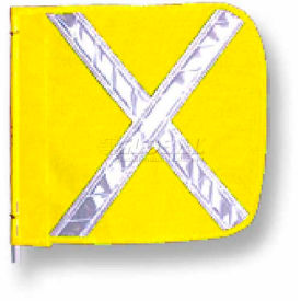 "Heavy Duty Flag, 16""x16"" Yellow w/ White X"