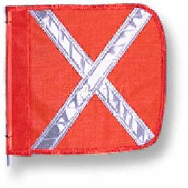 """Heavy Duty Flag, 12""""x11"""" Orange w/ White X"""