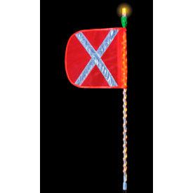 Checkers® 8' Cyclone Lighted Whip w/ Amber LED Wrap, Orange Flag, Amber Top Light, FSLEDA8OWAF