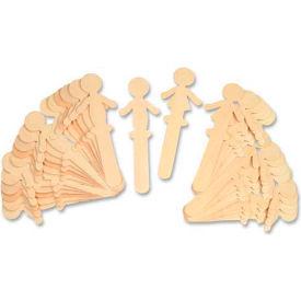 Chenille Kraft® People Shaped Wood Craft Sticks, Natural, 36 Sticks/Pack