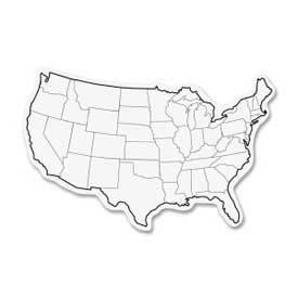 "Chenille Kraft® USA Map Whiteboard, 2-Sided, 12"" x 8"", White, 10/Pack"