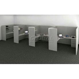 "Compatico CMW Quad Work Station w/o Electric 72""W x 288""D x 65""H - Metallic Silver"