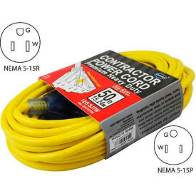 Conntek 20411-100, 100-Ft SJTW 12/3 Outdoor Extension Cord with 3- Lighted Outlets, NEMA 5-15P/R by