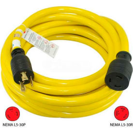 Conntek, 20571, 25-Ft 30-Amp Generator Power/Extension Cord with NEMA L5-30P to L5-30R