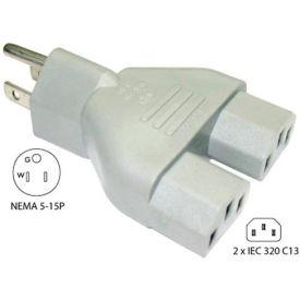 Conntek 30105, Y Adapter Plug, NEMA 5-15P to 2- IEC C13