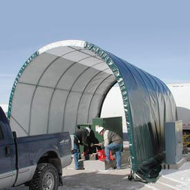 SolarGuard Freestanding Building 10'W x 8'H x 18'L on Wheels Tan