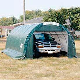 SolarGuard Storage Building - 12'W x 10'H x 24'L Round Style Green
