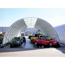 """Freestanding Poly Building 42'W x 17'3""""H x 60'L Green 4'Rafter"""