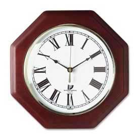 "Chicago Lighthouse 12"" Octagon Quartz Wall Clock, Wood Case, Mahogany"
