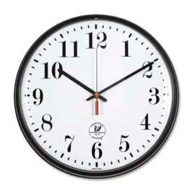 """Chicago Lighthouse 12.75"""" Round Radio Controlled Wall Clock, Plastic Case, Black"""