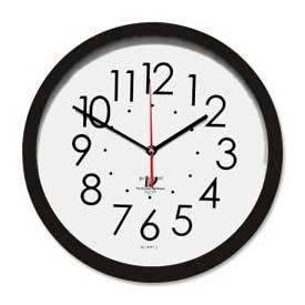 "Chicago Lighthouse 14.5"" Round SelfSet Wall Clock, Plastic Case, Black"