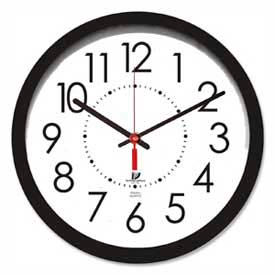 """Chicago Lighthouse 14.5"""" Round Electric Wall Clock, 5' Cord, Plastic Case, Black"""