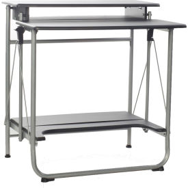 OneSpace 50-1010QA Freeley Folding Computer Desk, Black/Silver