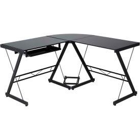 Onee 50 Jn110505 Ultramodern Gl L Shaped Computer Desk Black