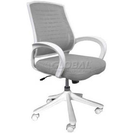 Iona Mesh Chair with White Frame, Gray Seat & Back