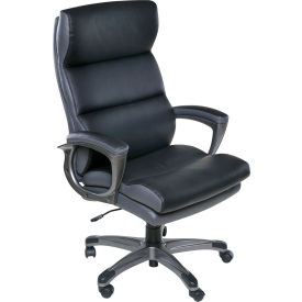 OneSpace High Back Two-Tone Executive Chair with Padded Armrests - Black - Roosevelt Series