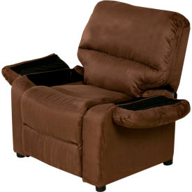 Attirant Relaxzen Youth Recliner With Cup Holder And Dual USB   Microfiber   Brown